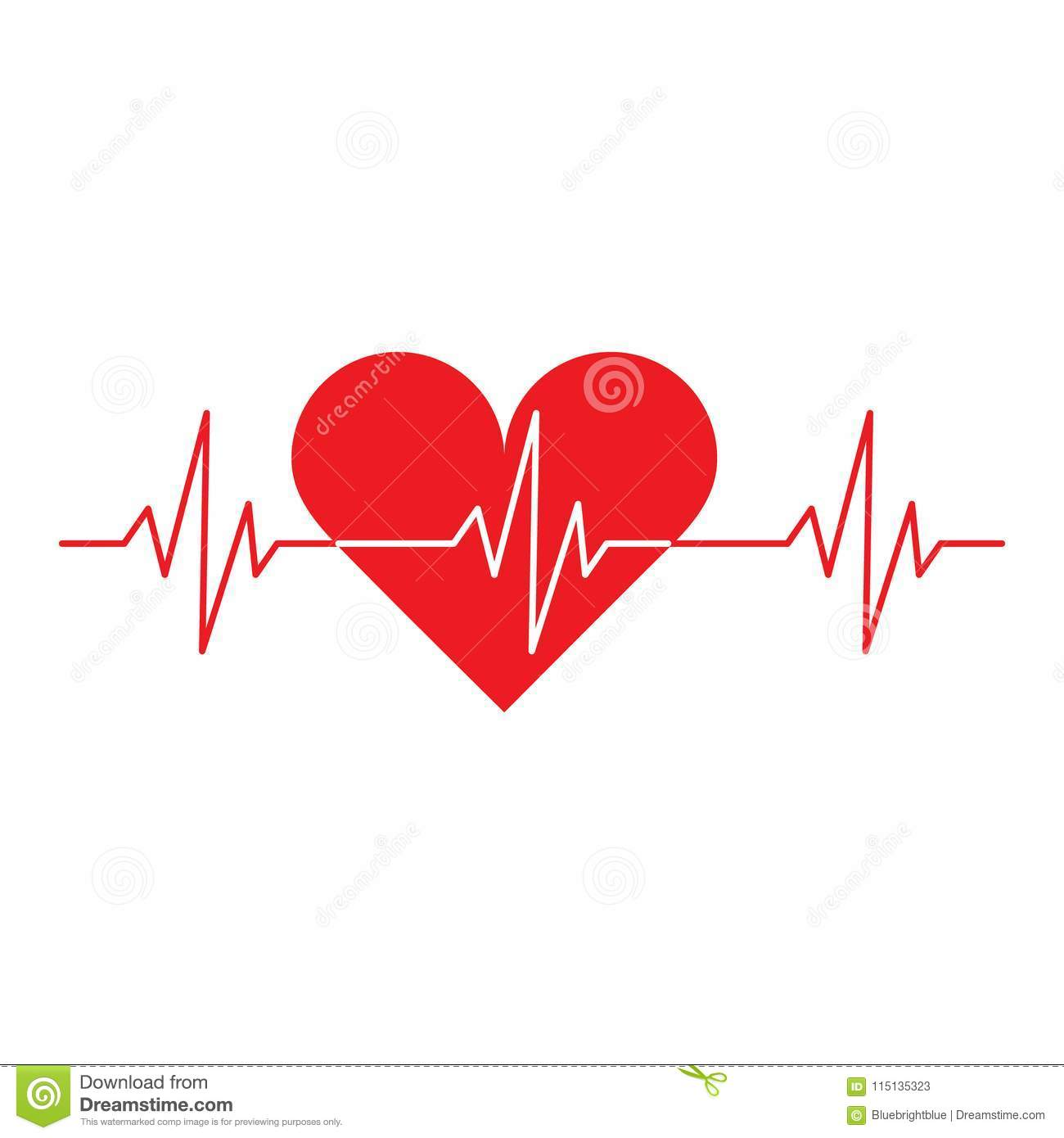 Red Heart With A Cardio Symbol Stock Vector Illustration Of Rhythm
