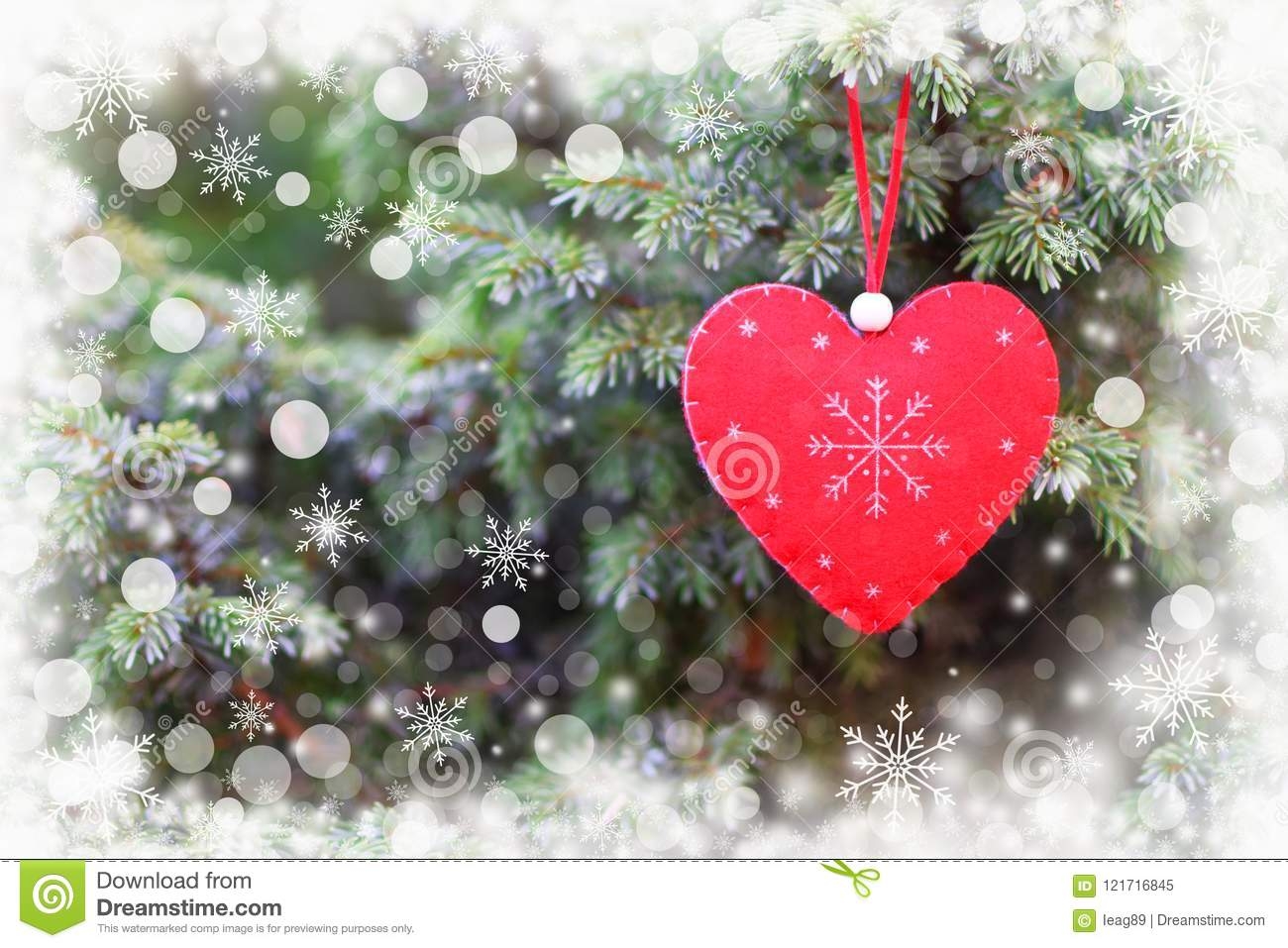 Red Heart On Christmas Tree Stock Image