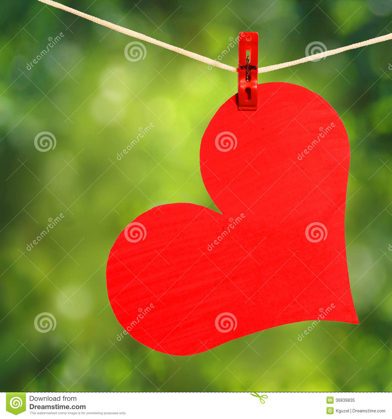 Nature Images 2mb: Red Heart With Clothespin Hanging On Clothesline Over