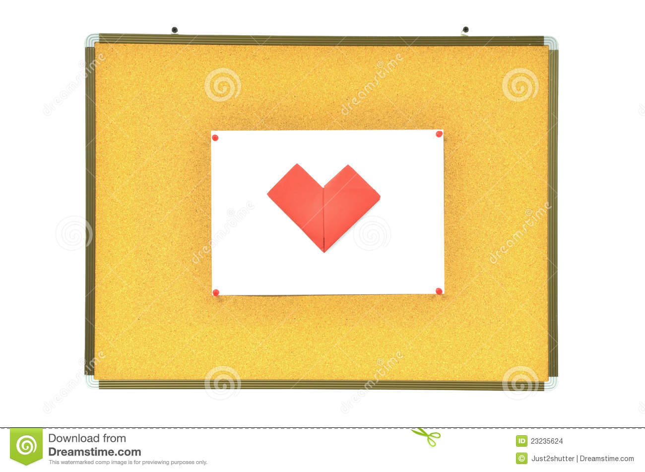 Red heart on cork board stock images image 23235624 for Heart shaped bulletin board