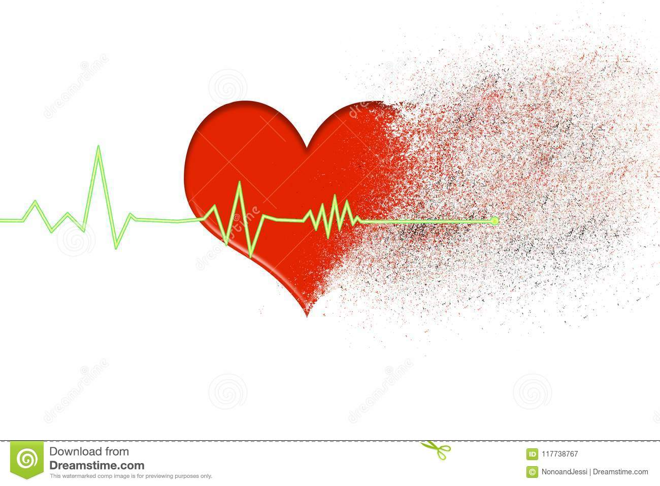 red heart that disintegrates into dust with the heartbeat line that stops on a white background