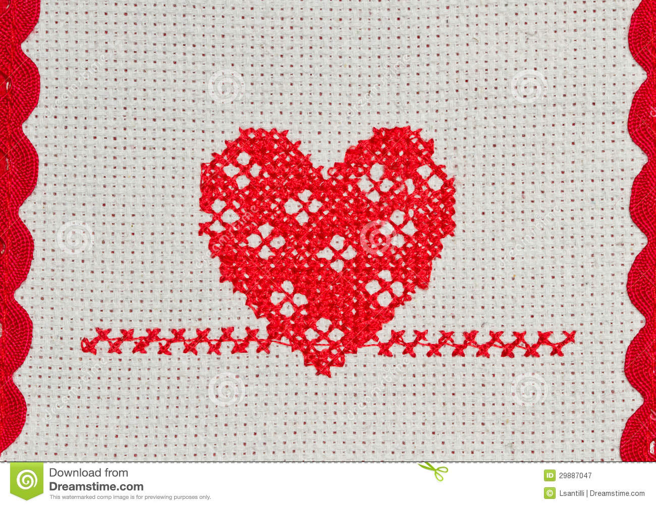 Red heart embroidered in cross stitch royalty free stock