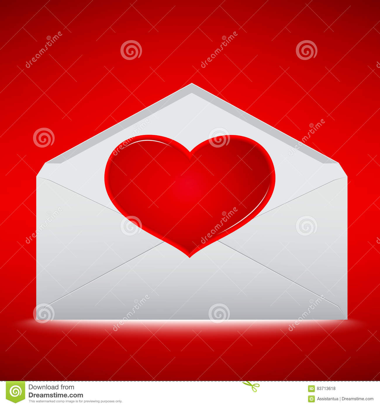Red Heart On Envelope With Red Background Stock Vector