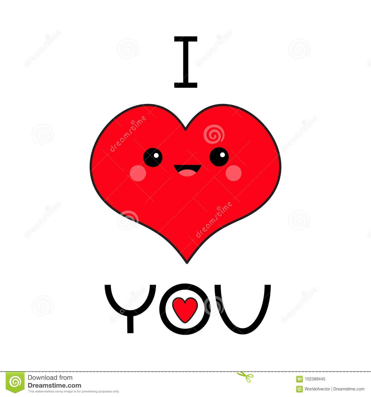 Red Heart Face Head I Love You Exclamation Point Cute Cartoon