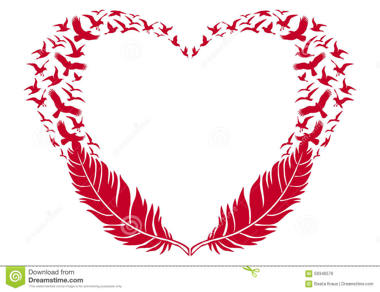 red heart with feathers and flying birds  vector stock free dove clipart black and white free dove clipart black and white