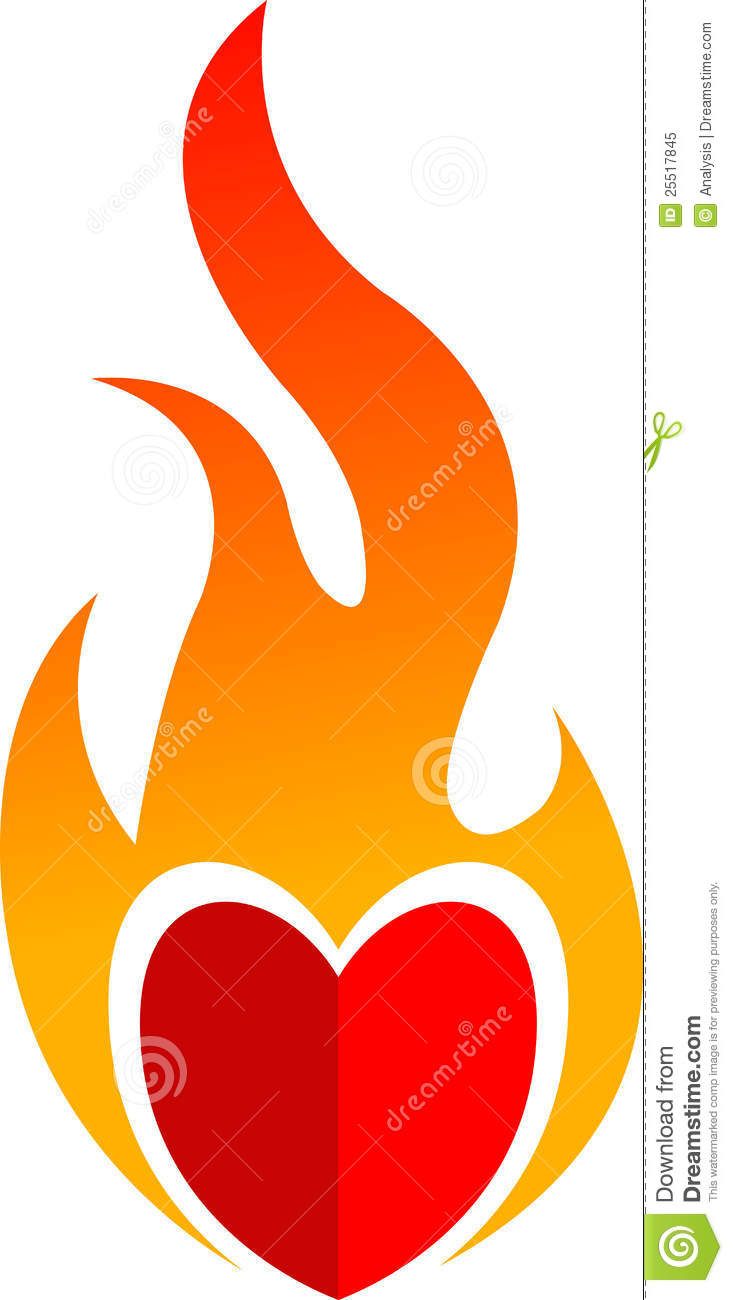 Red Heart On Fire Royalty Free Stock Photo - Image: 25517845