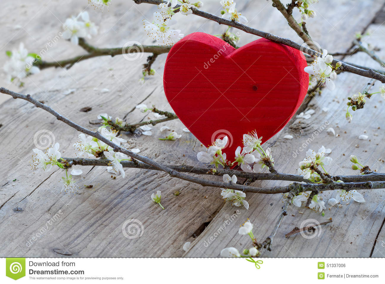 Red heart with flower branch, love symbol for valentine s day