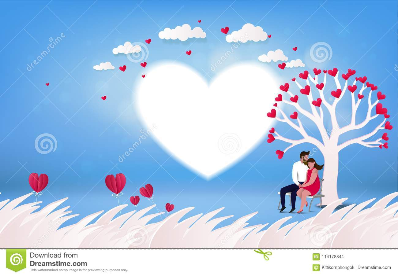 Red Heart Flower On Pink Background With Couple Kissing Under L Stock Illustration Illustration Of Dating Love 114178844