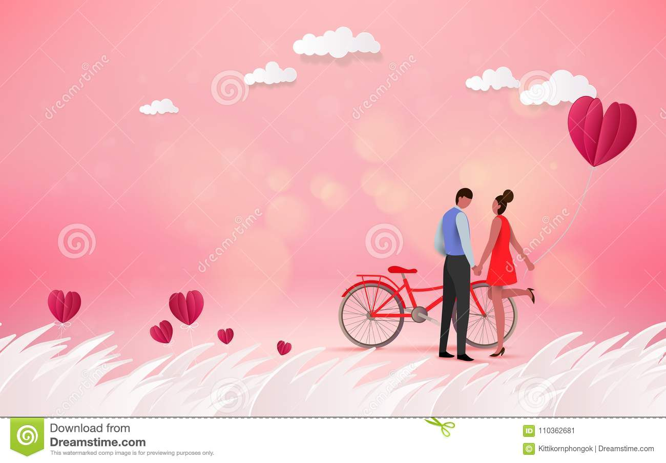 Red heart flower on pink background with sweet couple on honeym