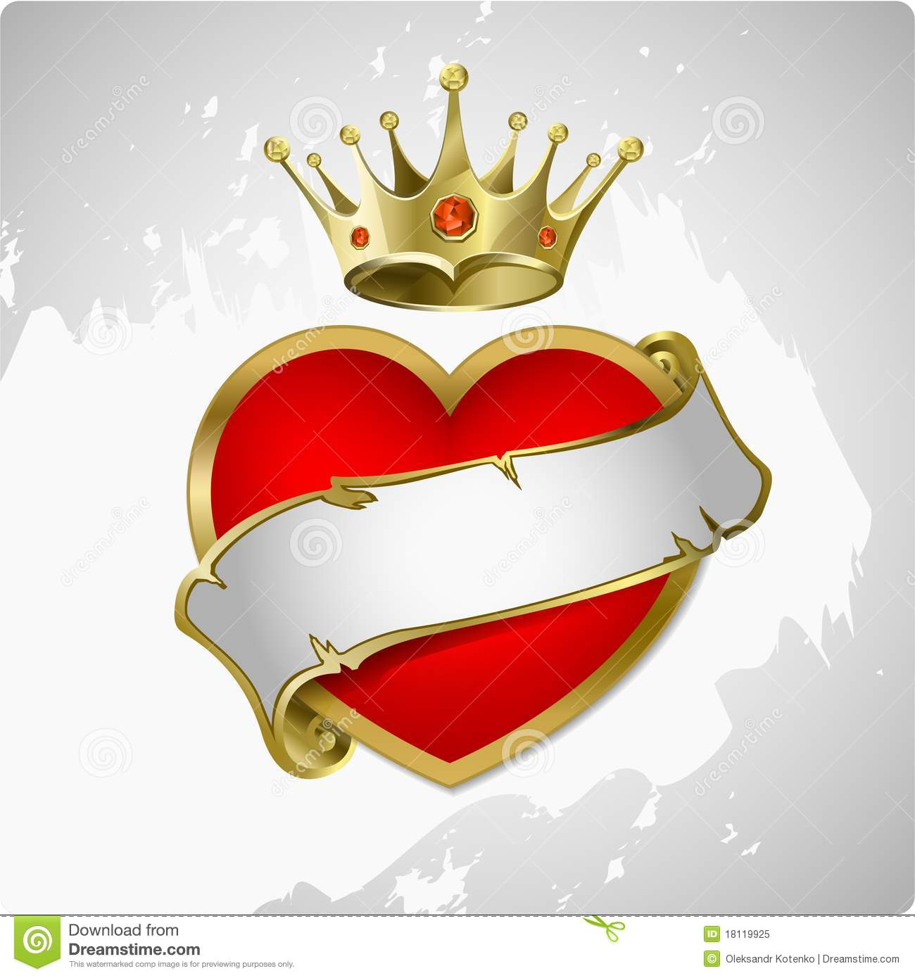 Red Heart With A Gold Crown. Royalty Free Stock Photo - Image ...