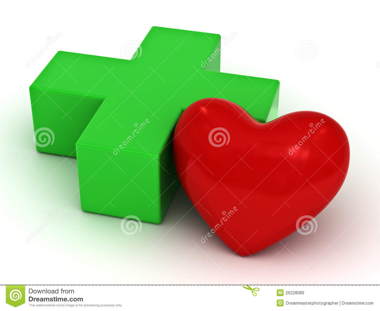 Red Heart And Green Plus Sign Stock Illustration Illustration Of