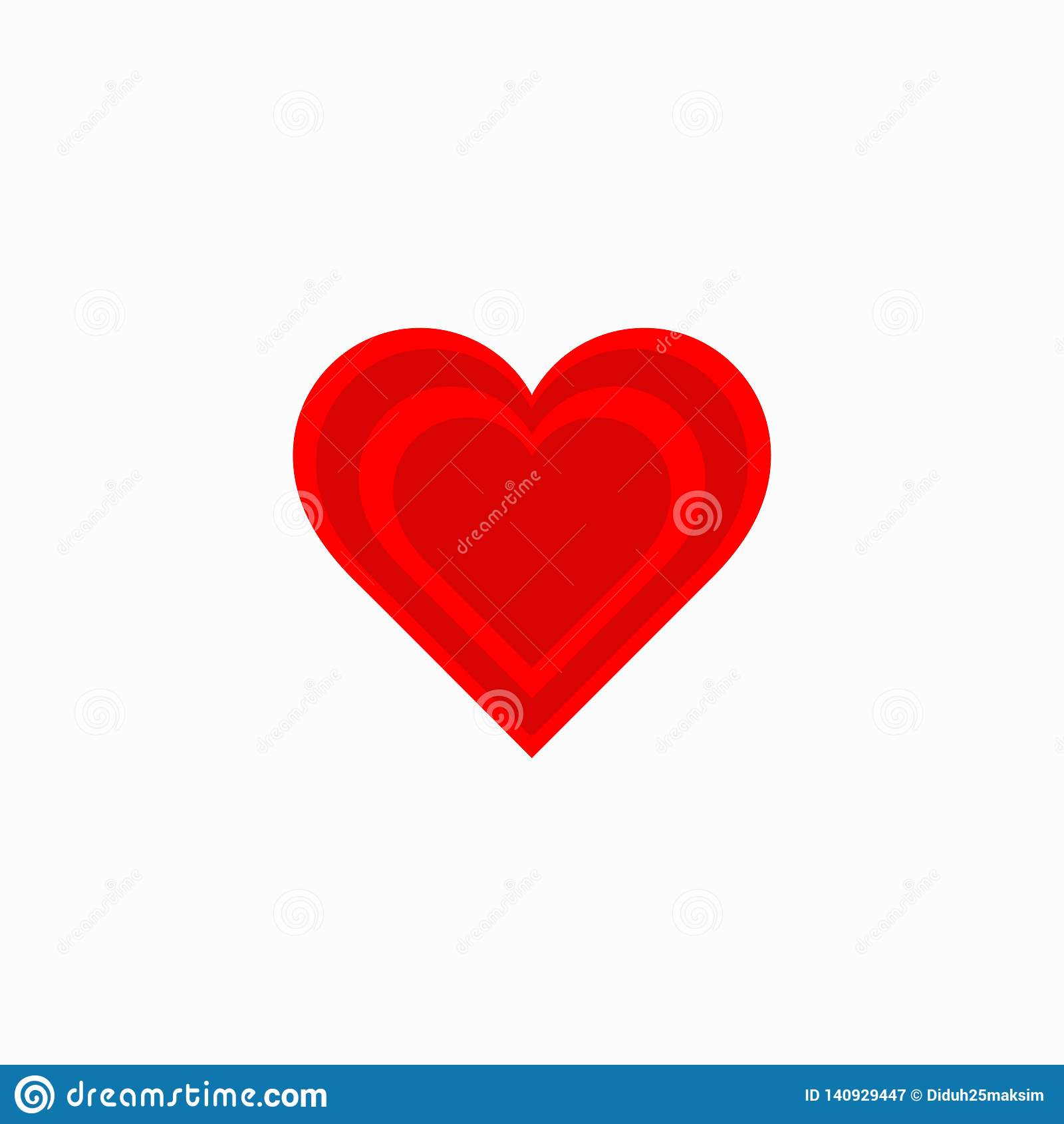 Red heart. Icon heart. Symbol love. Vector illustration. EPS 10