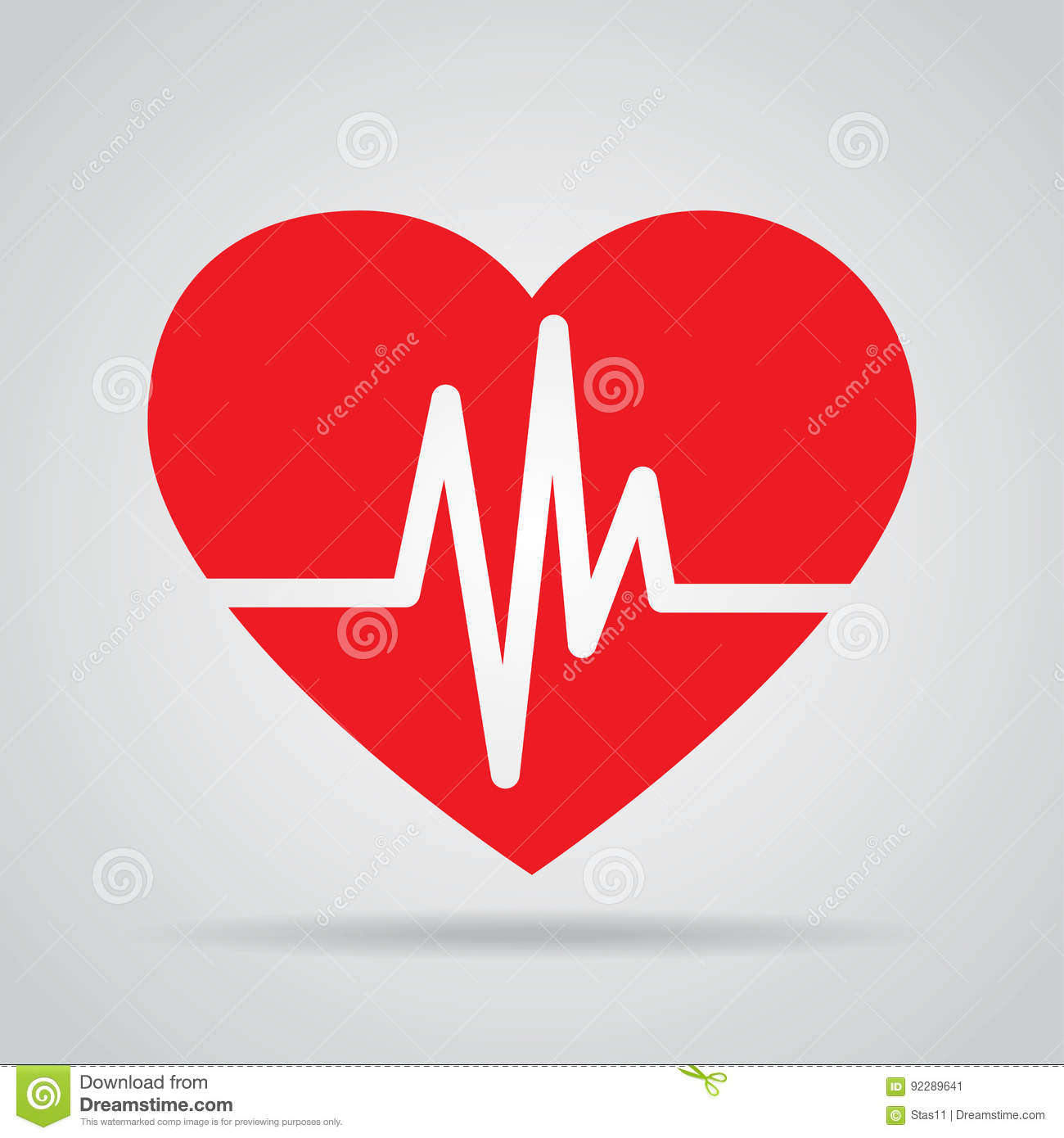 red heart icon with sign heartbeat vector illustration heart in