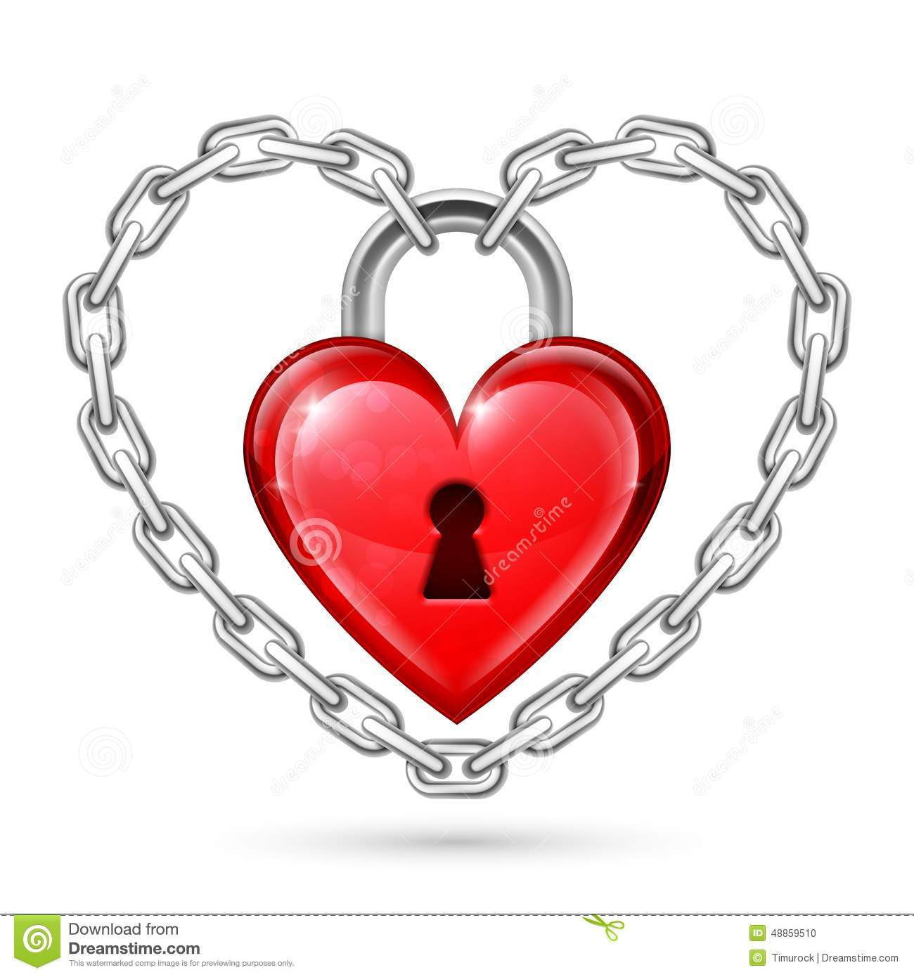 Red Heart Lock And Chains Stock Vector - Image: 48859510