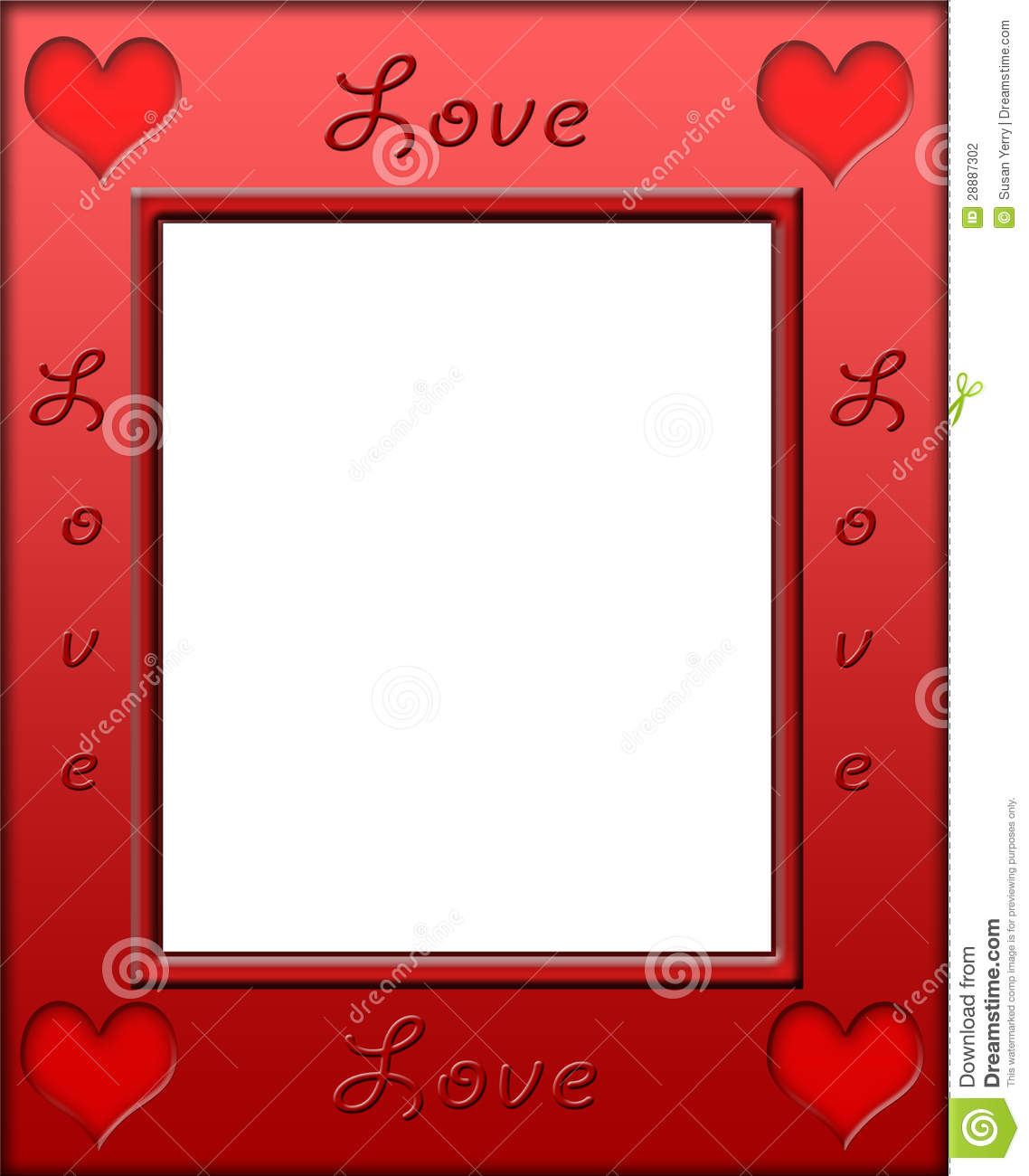 red heart love frame border