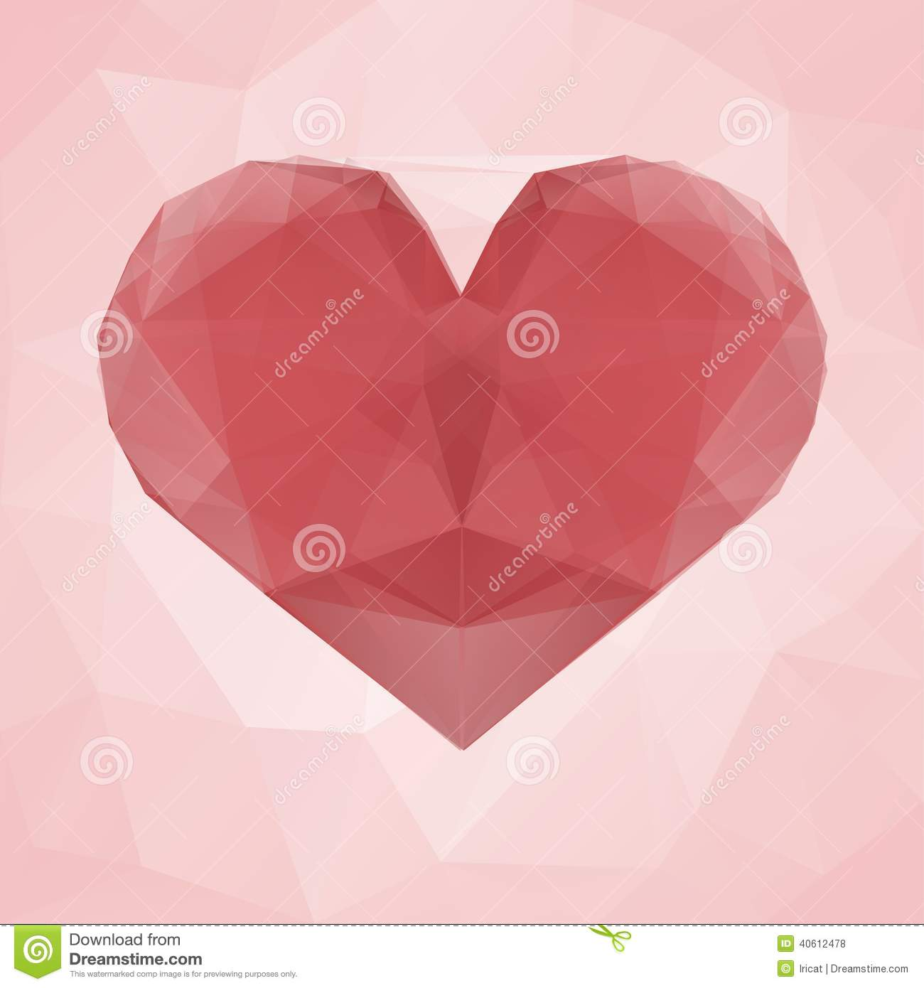 Red Heart Made Of Transparent Triangles On A Pink Abstract