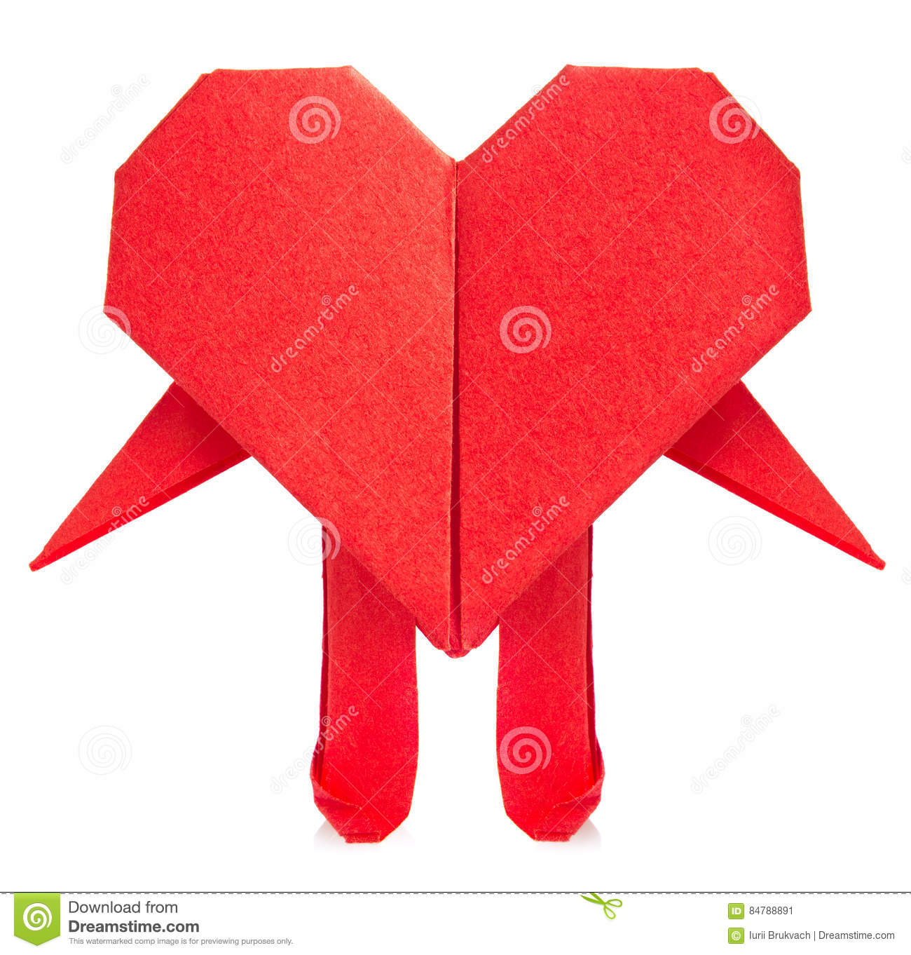 Red Heart Of Origami With Arm And Leg Stock Image Image Of Paper - Origami-corazn