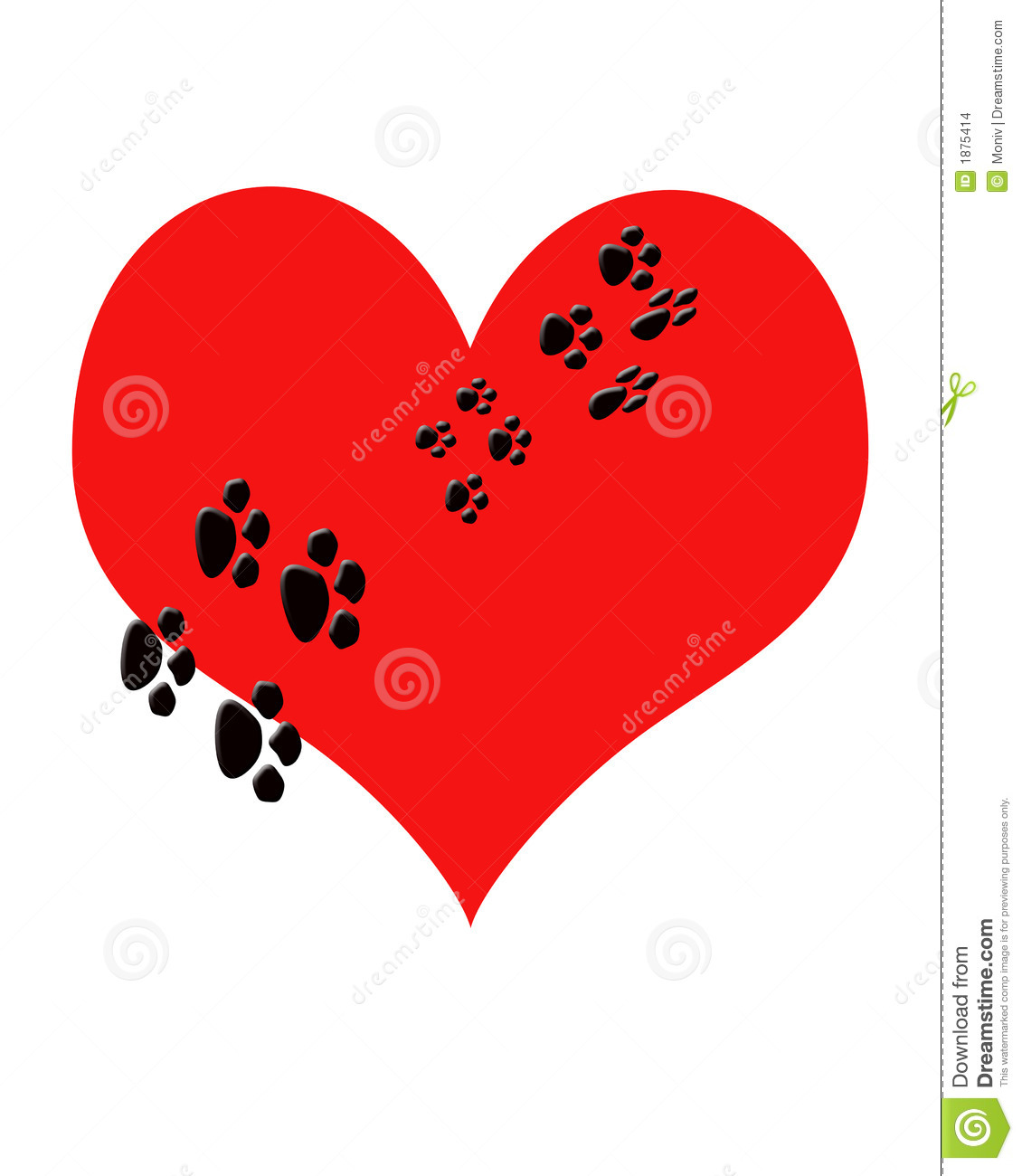 Red heart with puppy Paw prints walking thru it.Metaphor Puppy Love or ...