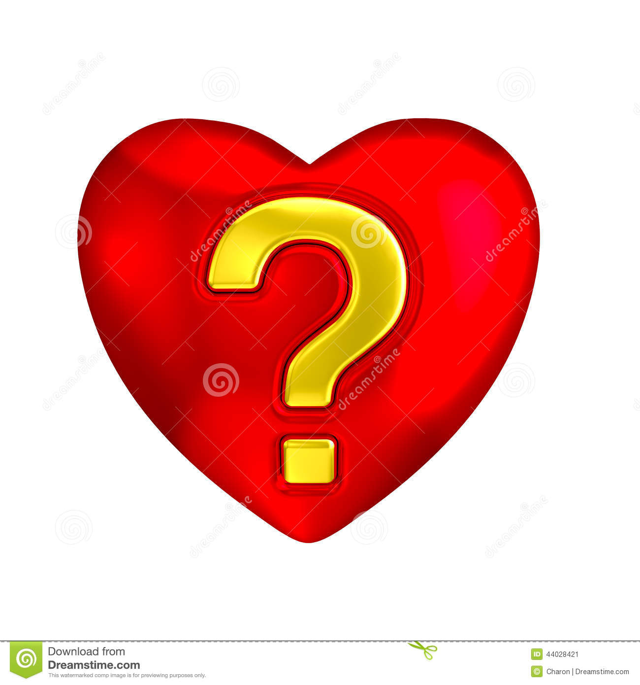 heart symbol with golden question mark inlay. Metaphor for question ...