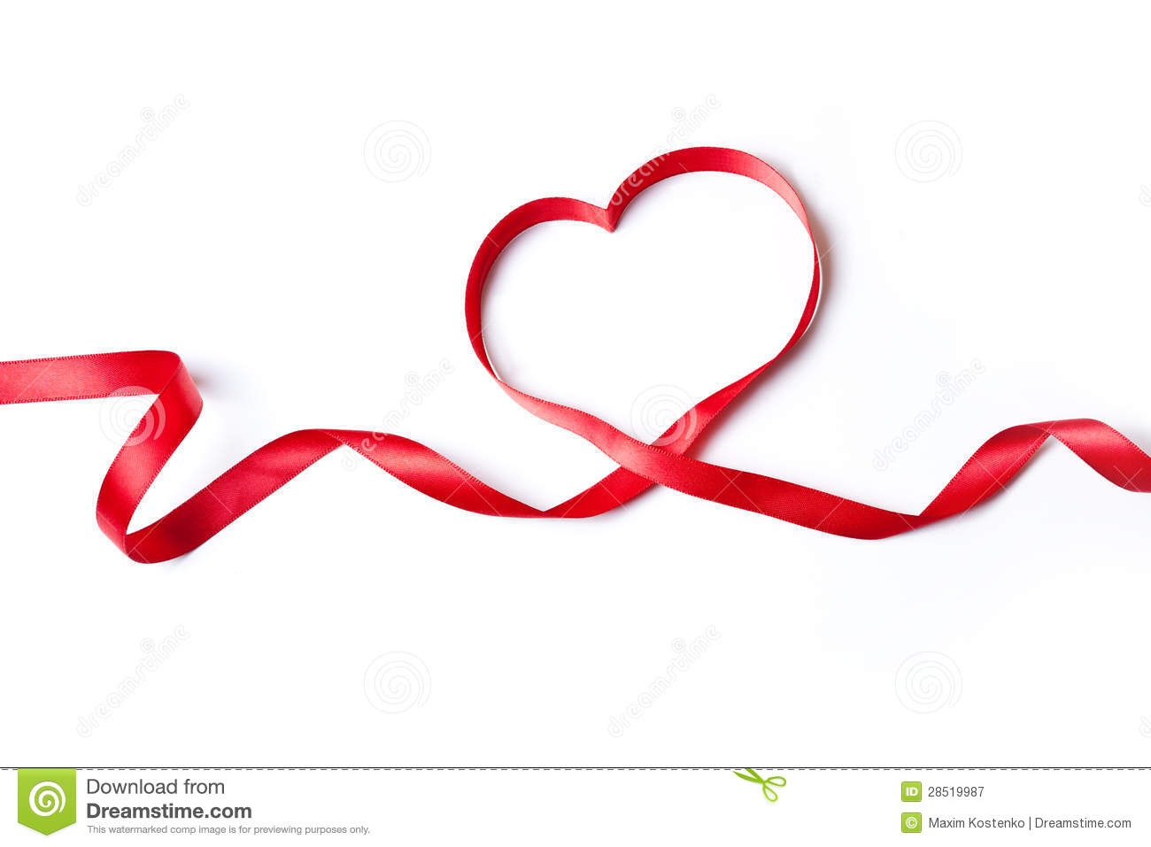 Red Heart Ribbon Royalty Free Stock Photography - Image: 28519987