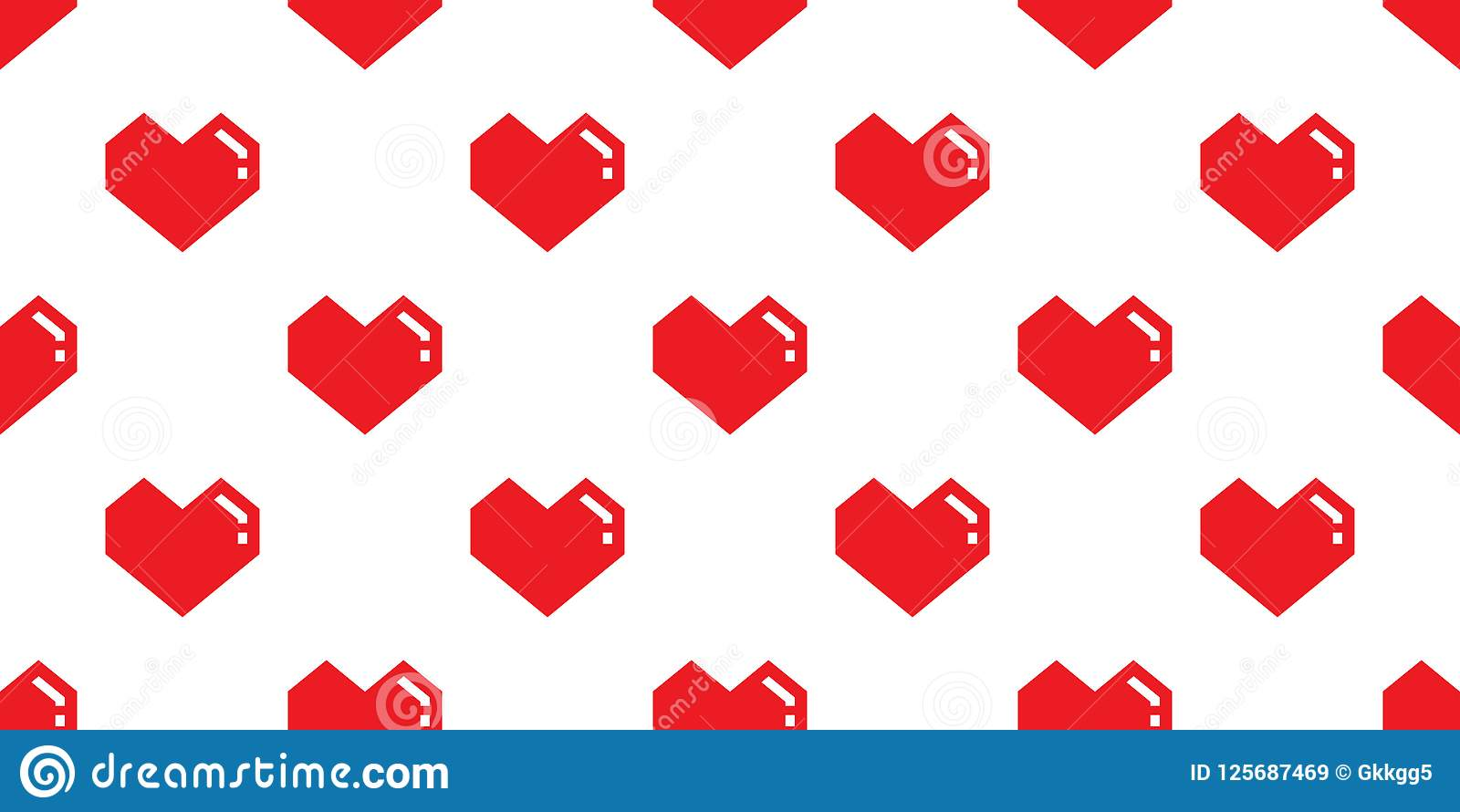 Red Heart Seamless Pattern Vector Valentine Day Isolated Geometric