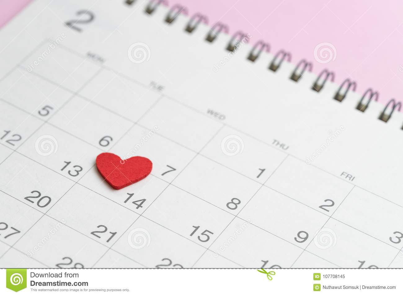 Usi Calendar.Red Heart Shape On 14th February Calendar On Pink Background Using