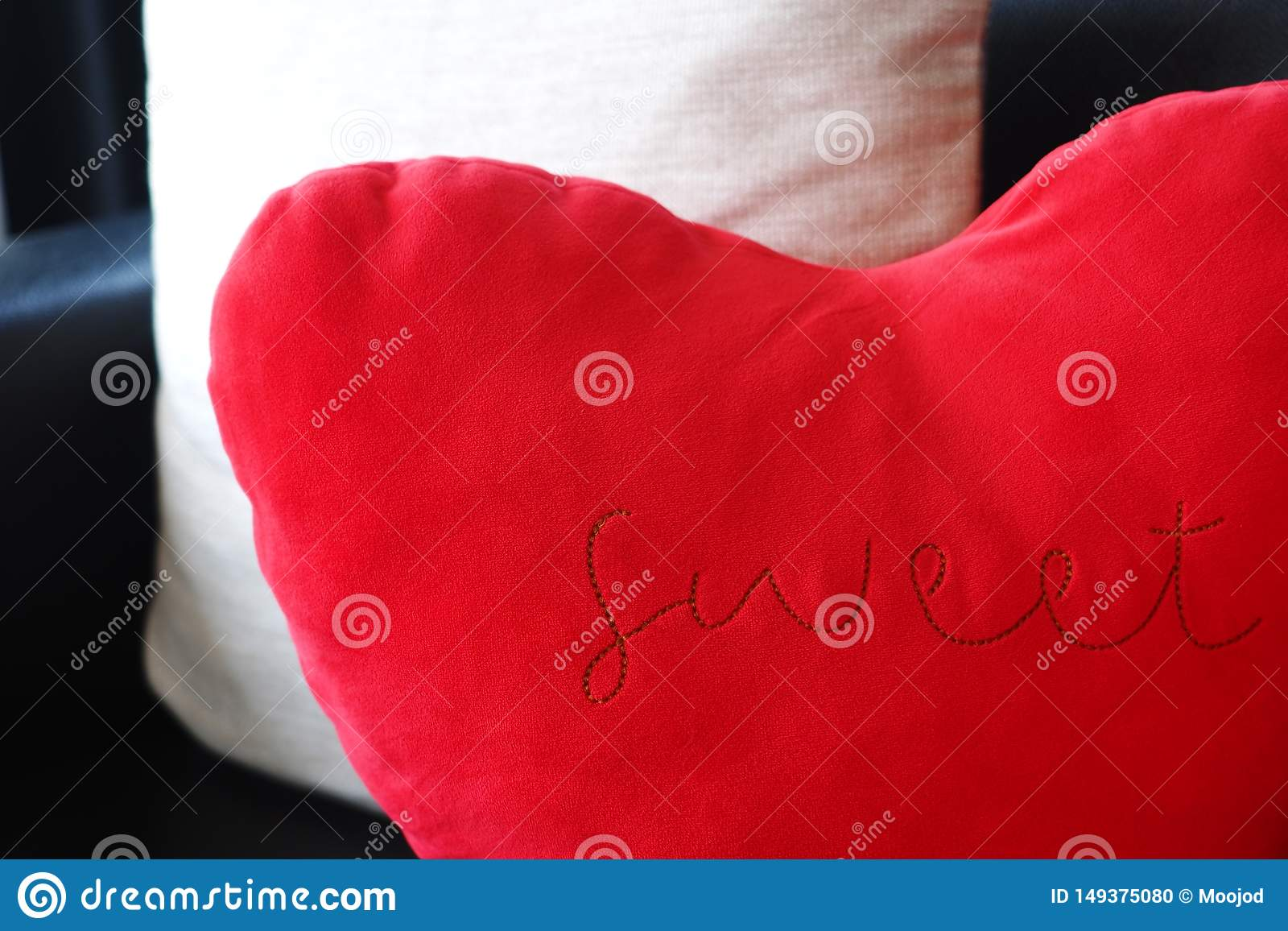 Red Heart Shaped Cushion With Sweet Word Stock Photo Image