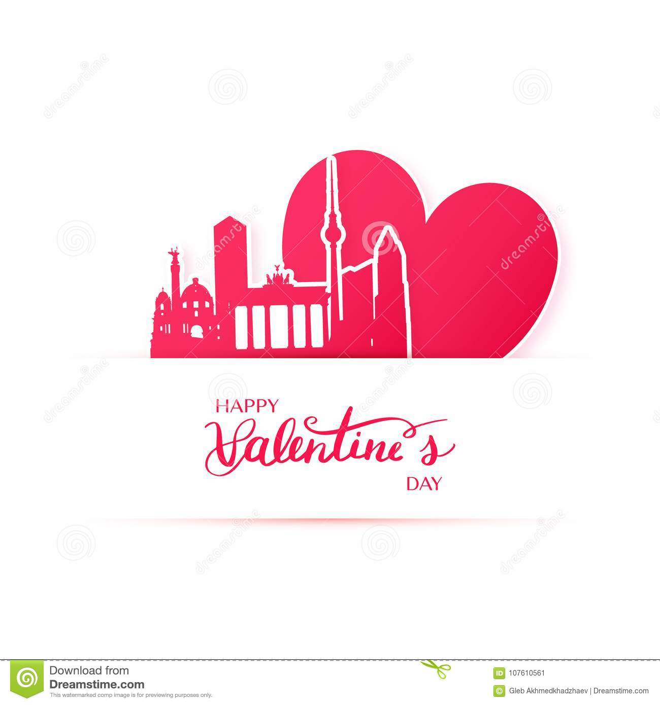 Red Heart And Silhouette Of Berlin City, Paper Stickers ...
