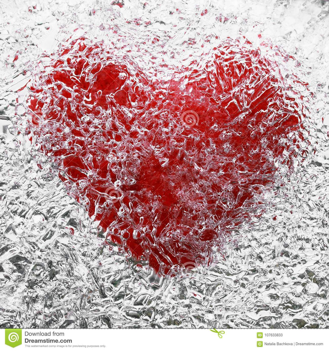 Red Heart Symbol Is Covered With Cold Clear Ice Stock Image Image