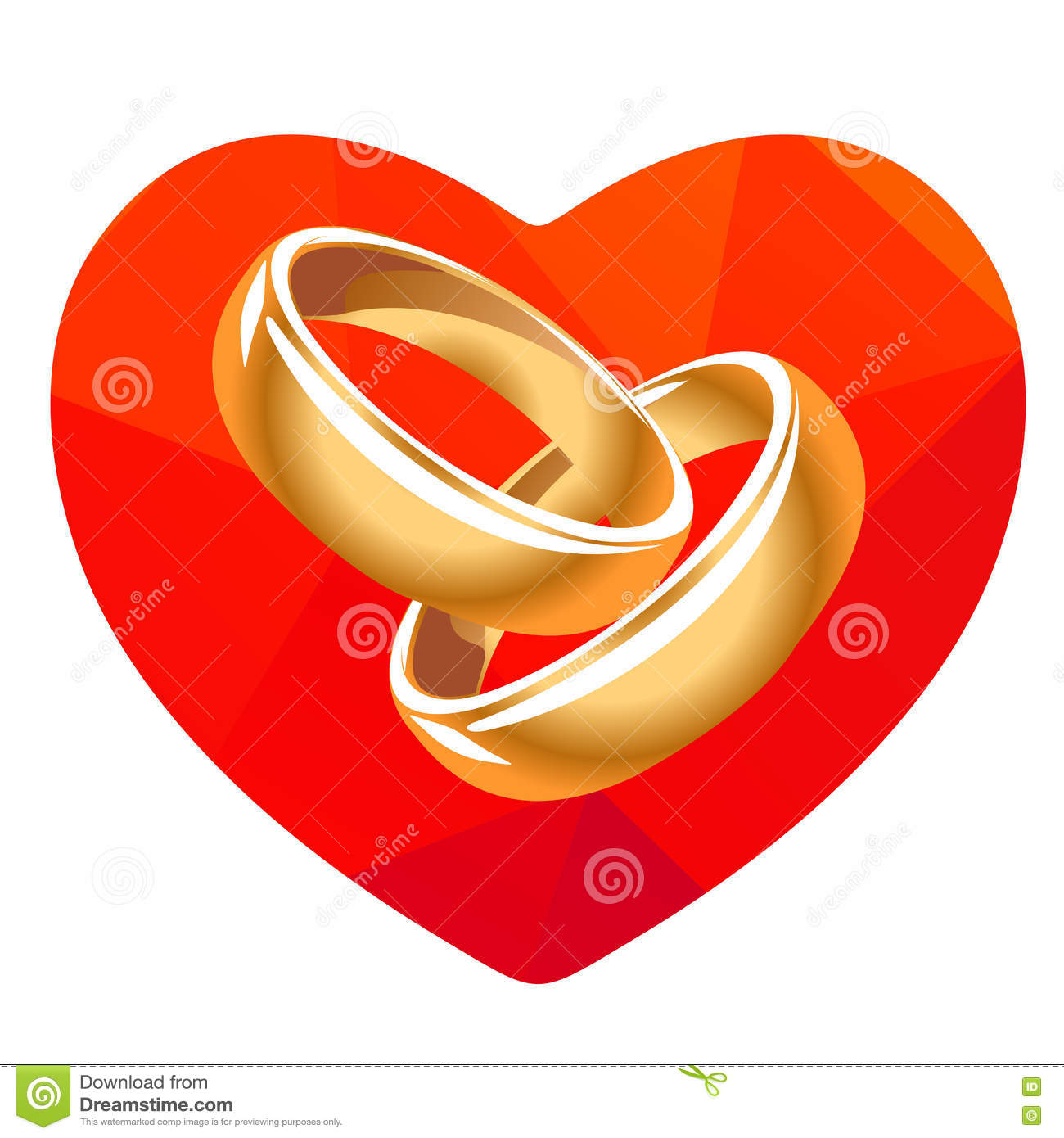 Red Heart And Two Rings Stock Vector