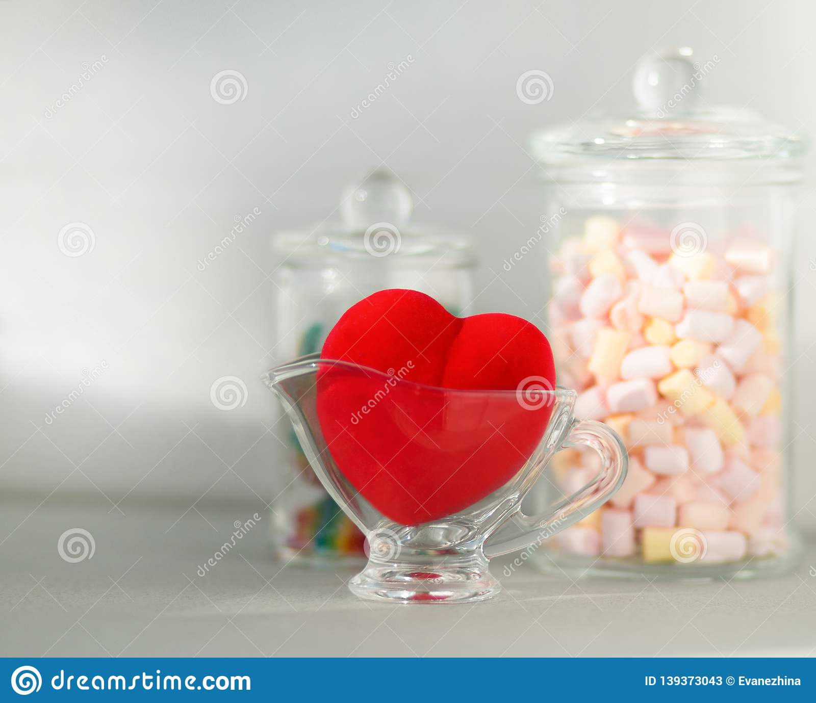 Red Heart Velvet with marshmallows and fruit jelly in glass