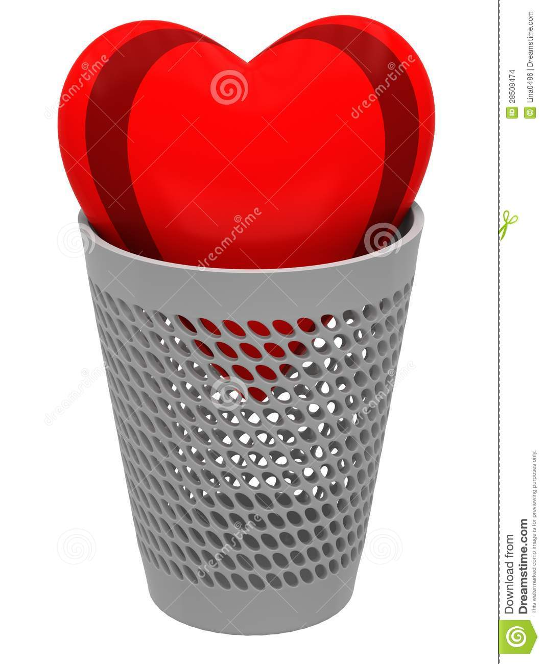 Red heart in a wastebasket stock images image 28508474 - Rd wastebasket ...