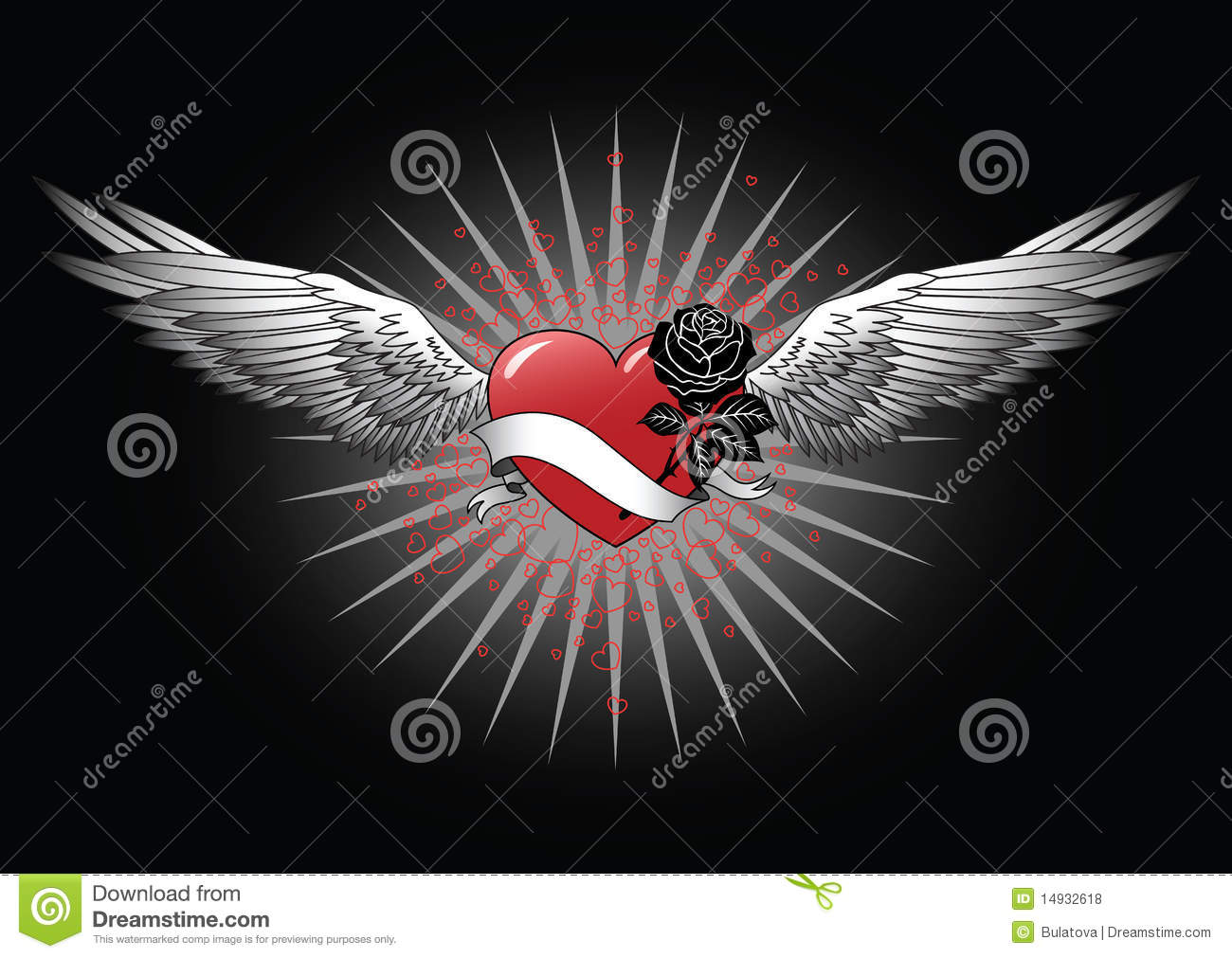 Red heart with wings royalty free stock photos image 14932618