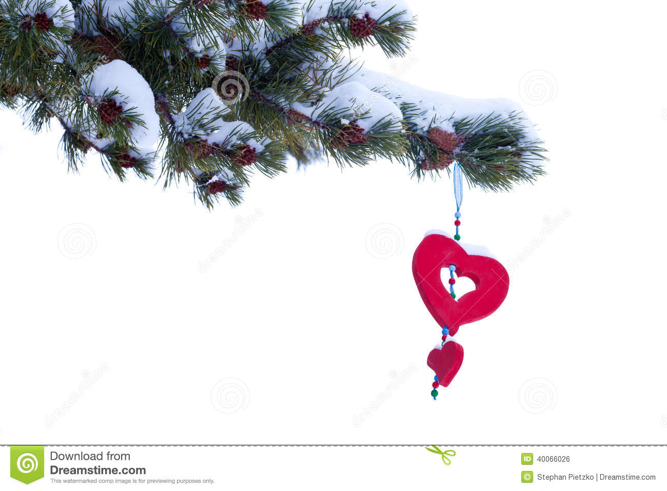 Red heart winter christmas tree ornament isolated stock