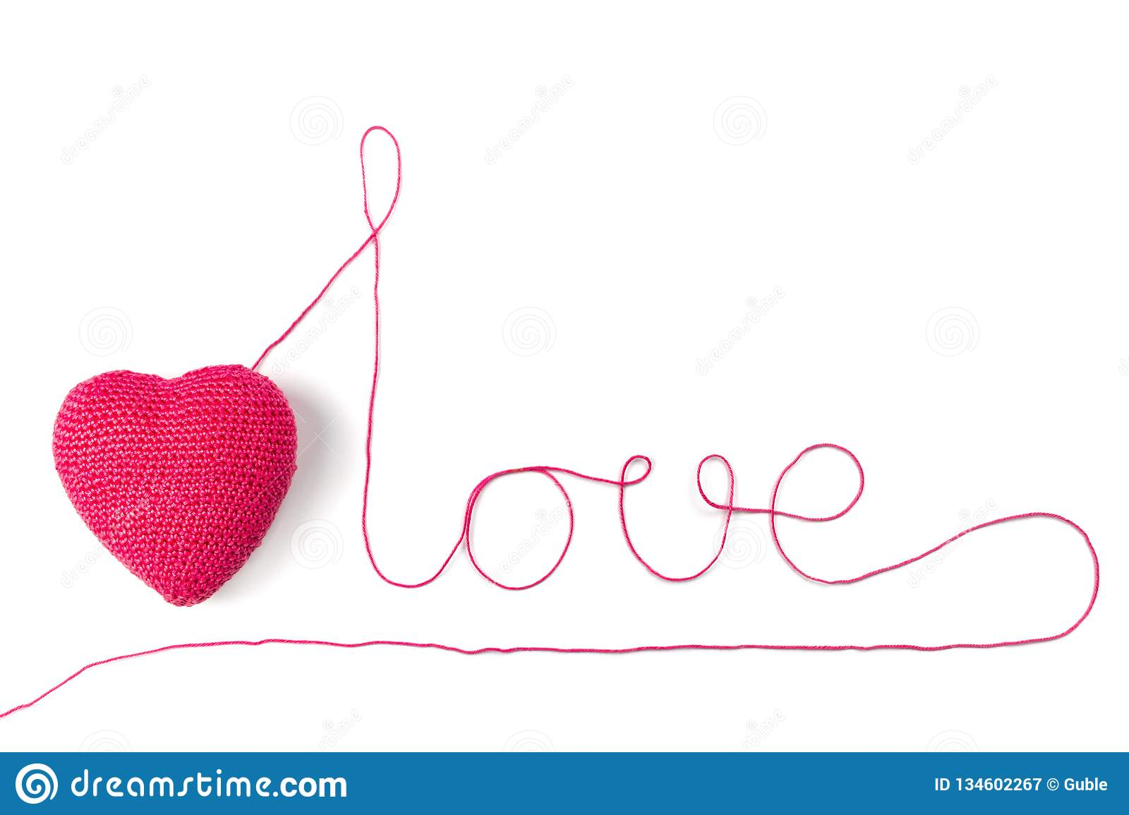 Red Heart And Yarn In The Shape Of A Word Love  Isolated On