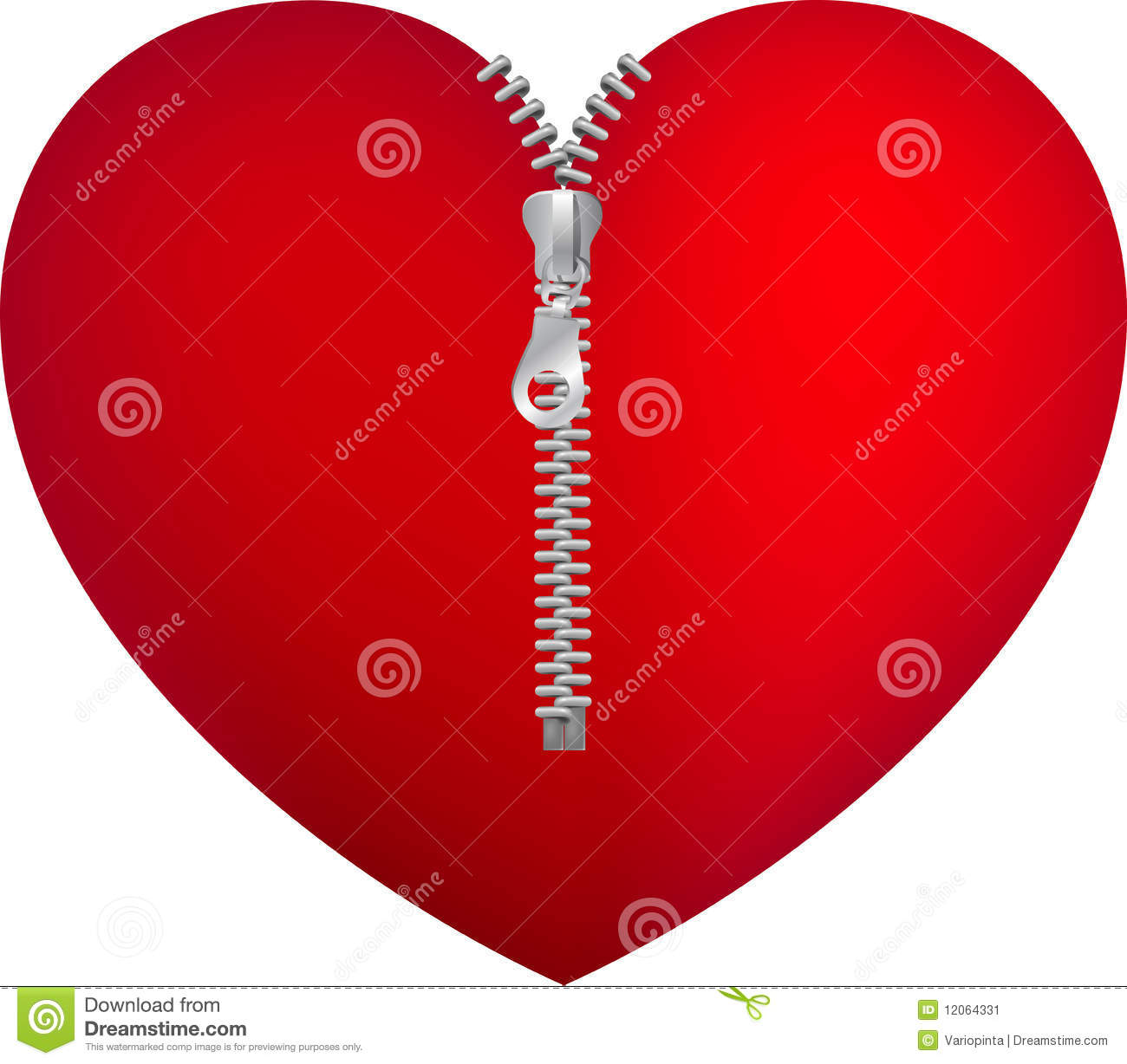 red heart with zipper stock image image 12064331