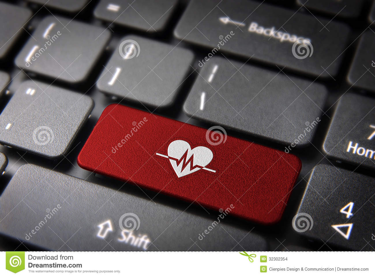 Red Heartbeat Keyboard Key Health Background Stock Images