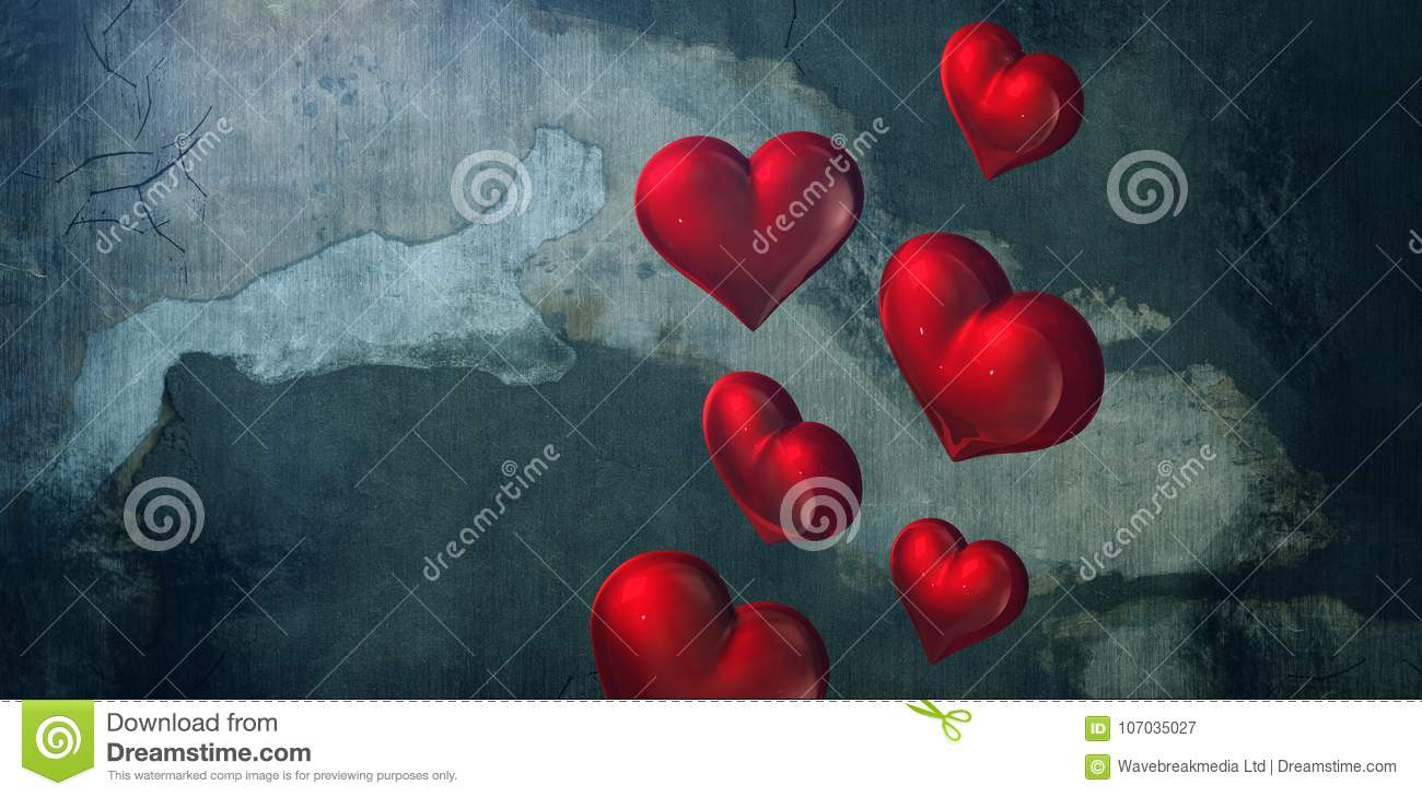 Composite image of red hearts