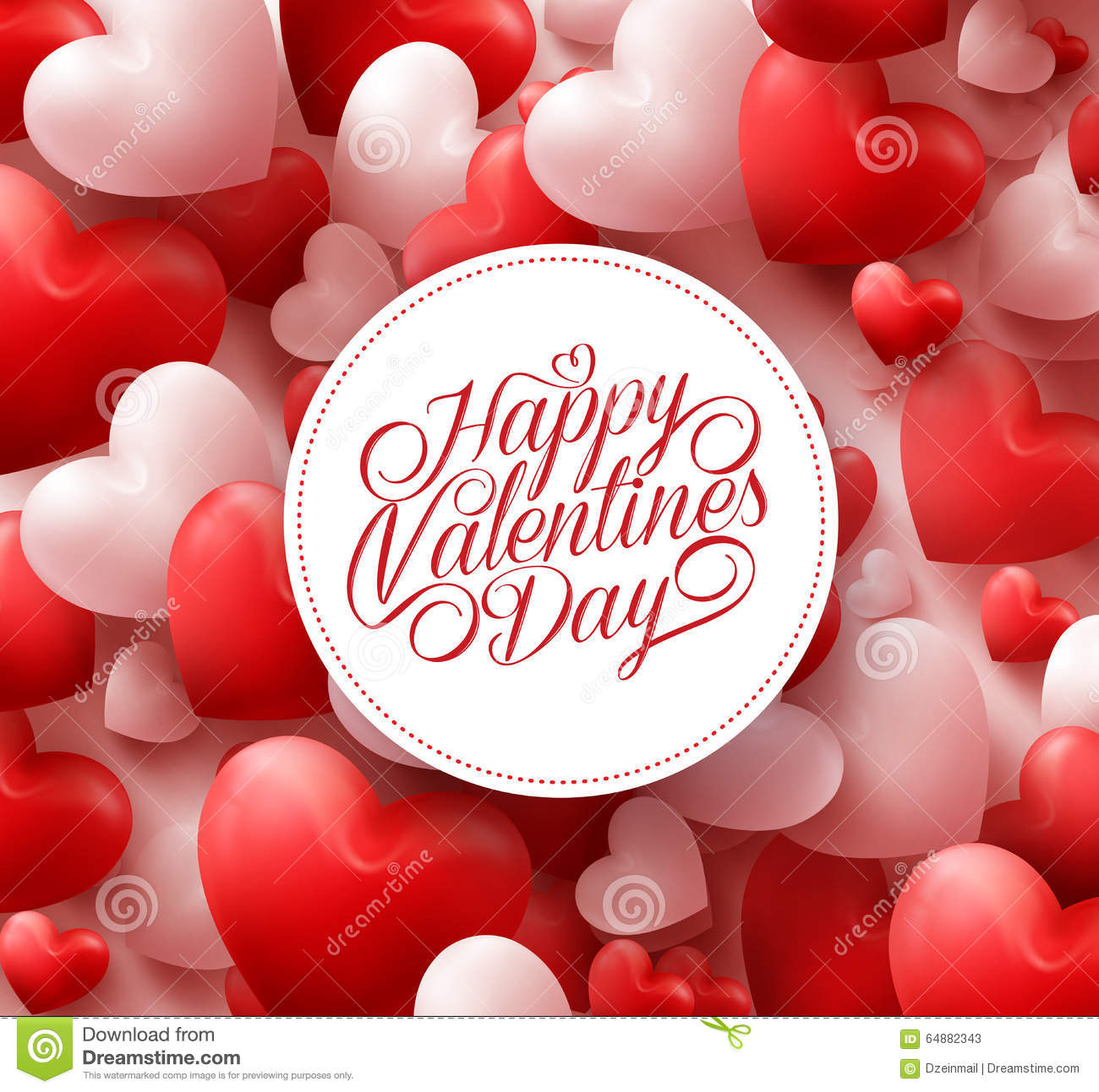 Red Hearts Background With Happy Valentines Day Greetings Stock