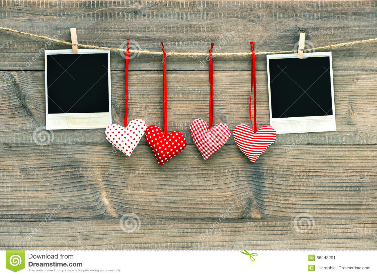 Red Hearts Blank Polaroid Photo Frame Hanging On Clothesline Stock ...