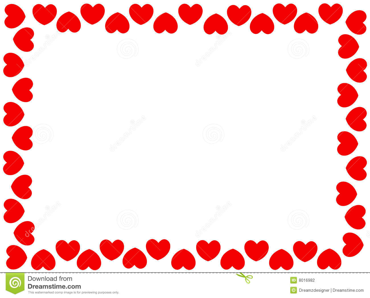 Red Hearts Border Stock Photography - Image: 8016982