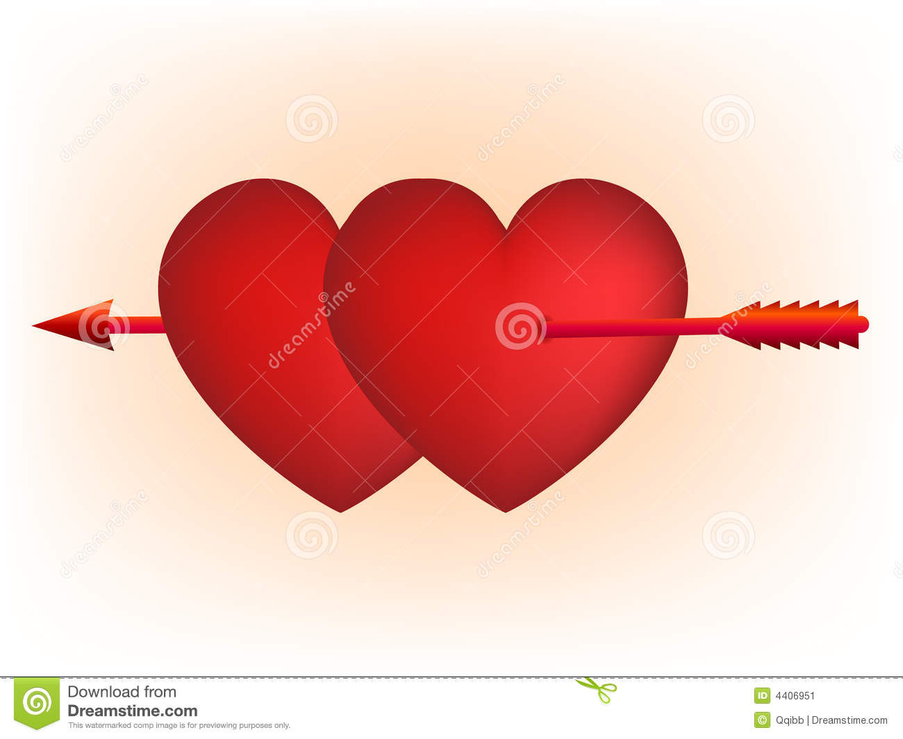 Red Hearts And Cupid Arrow Stock Image - Image: 4406951