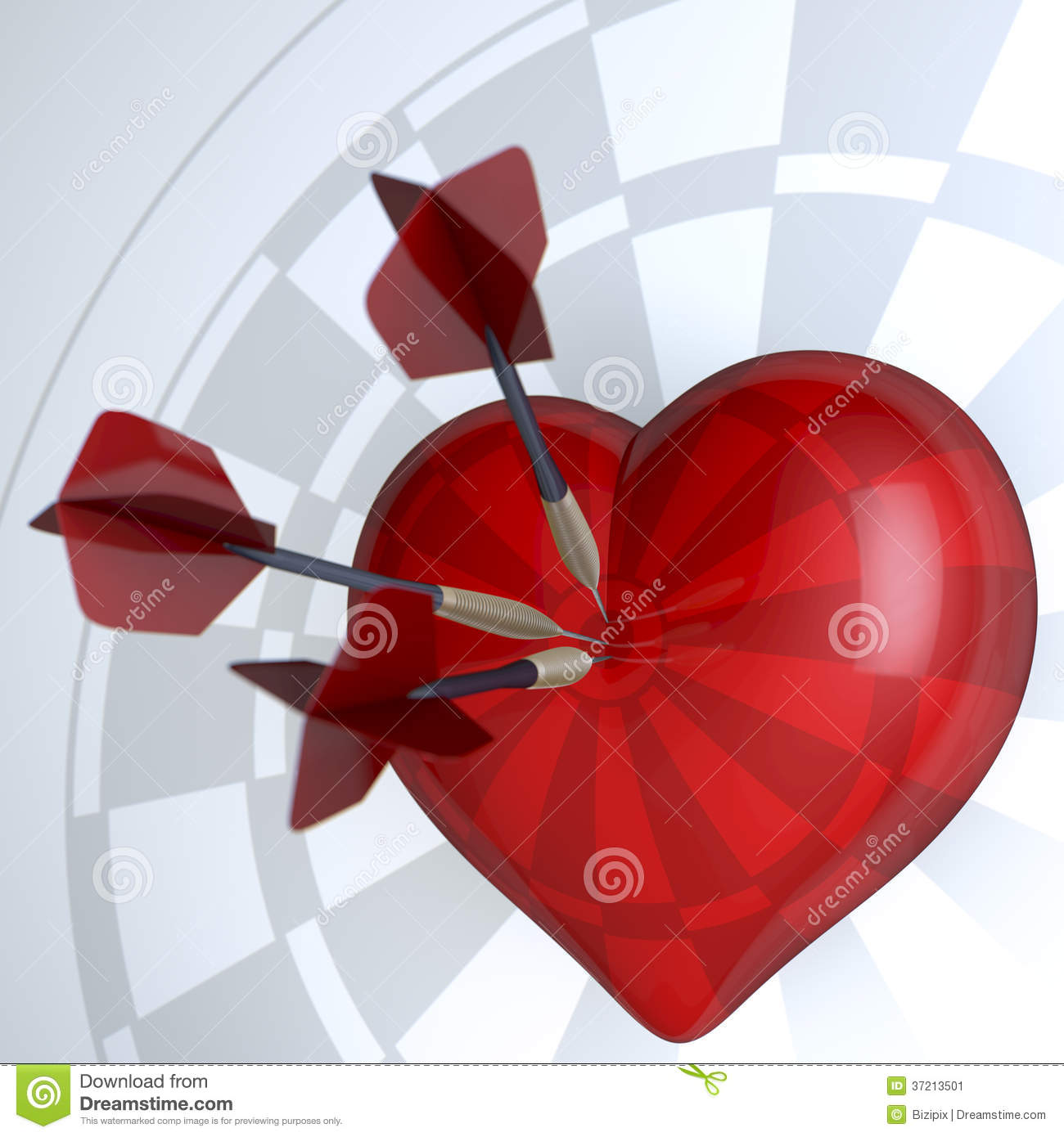 Red hearts dartboard
