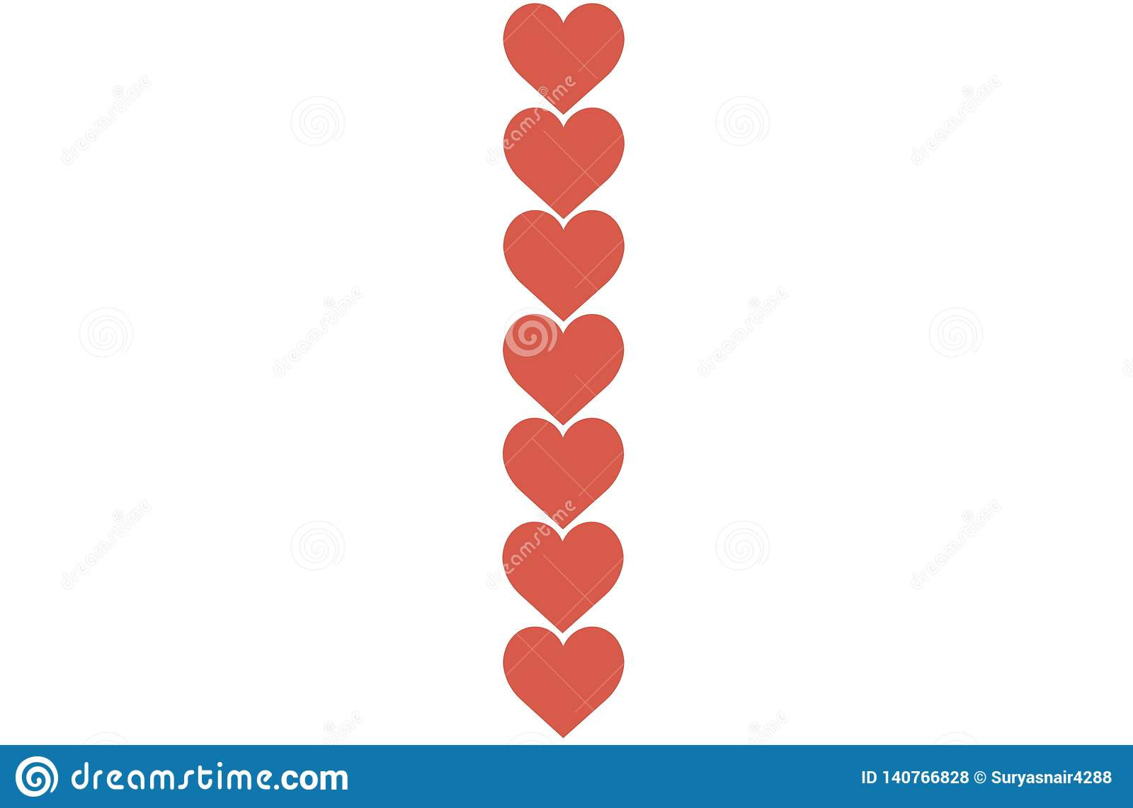 Red Hearts Design on White Background. Love, Heart, Valentine s Day. Can be used for Articles, Printing, Illustration purpose,