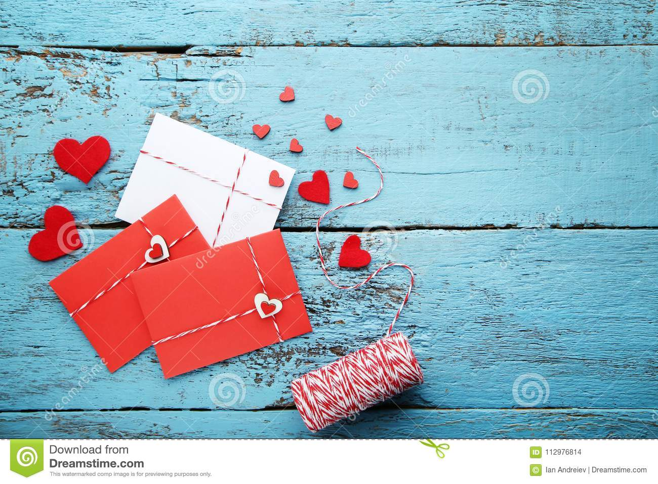Red hearts with envelopes