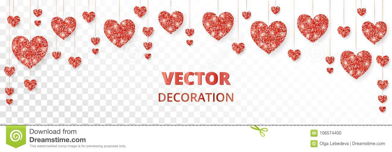 Red Hearts Frame, Border. Vector Glitter Isolated On White. For ...