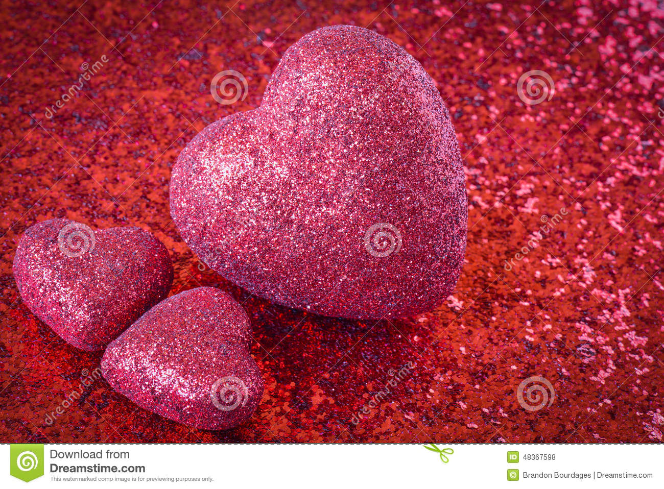 Red Hearts with Glitter Background