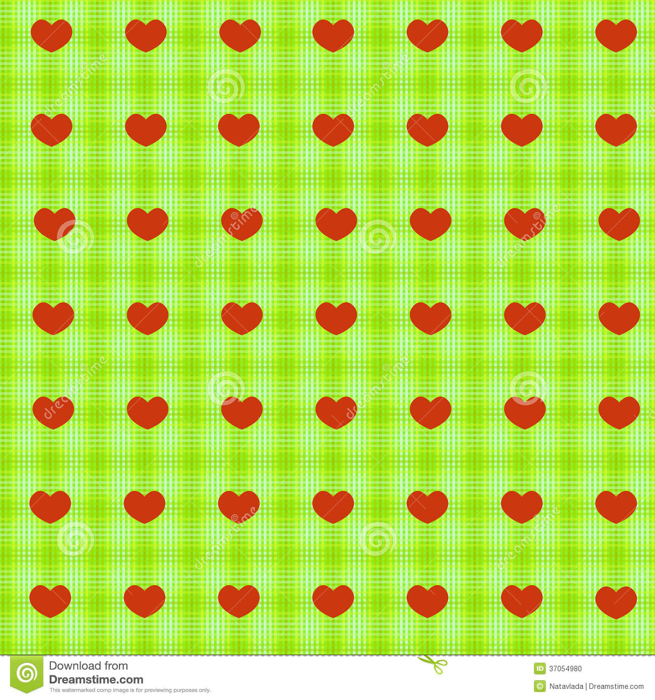 Red Hearts On Green Tablecloth Seamless Background Stock