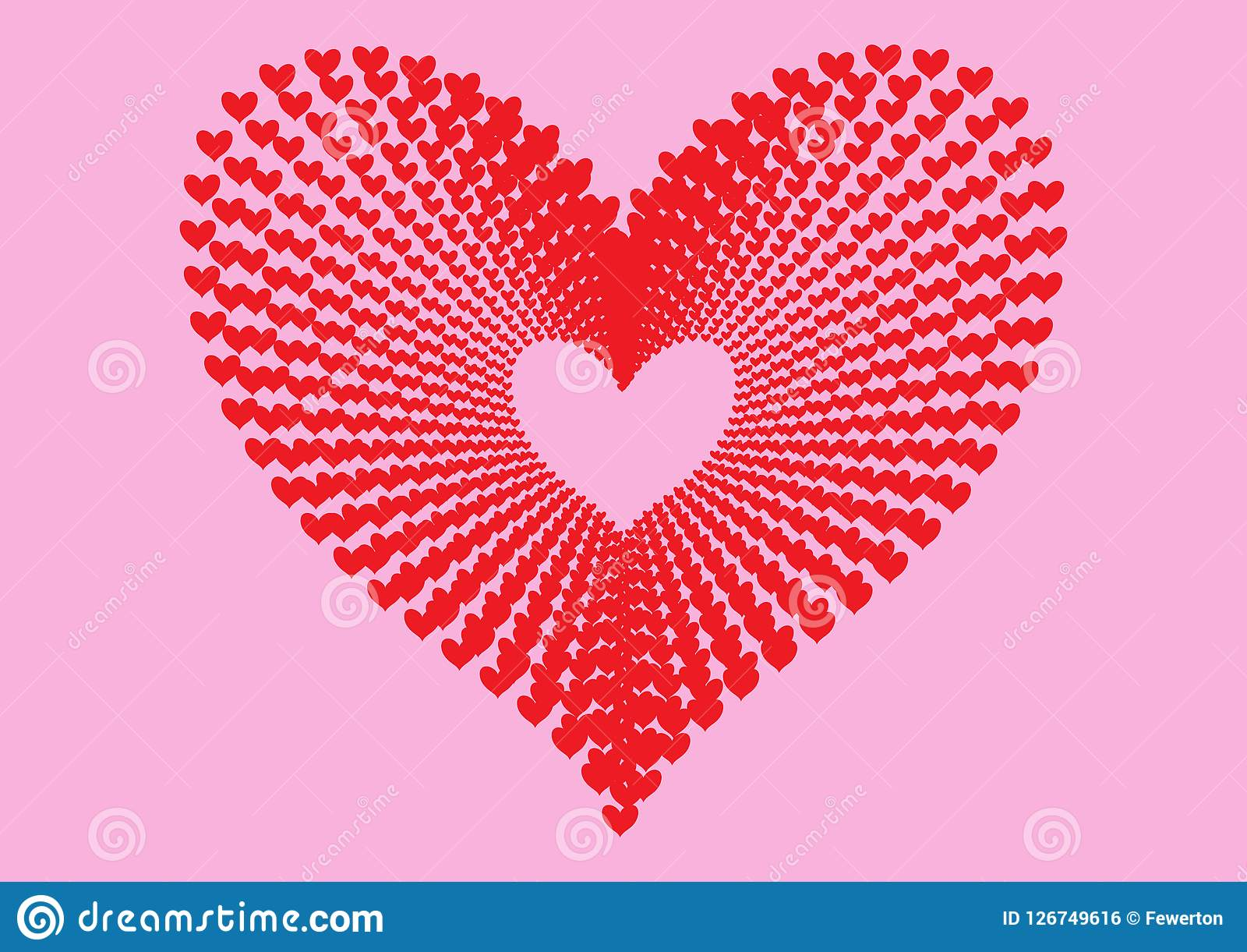 Red Hearts Pattern Forming The Shape Of A Large Heart In Concentric