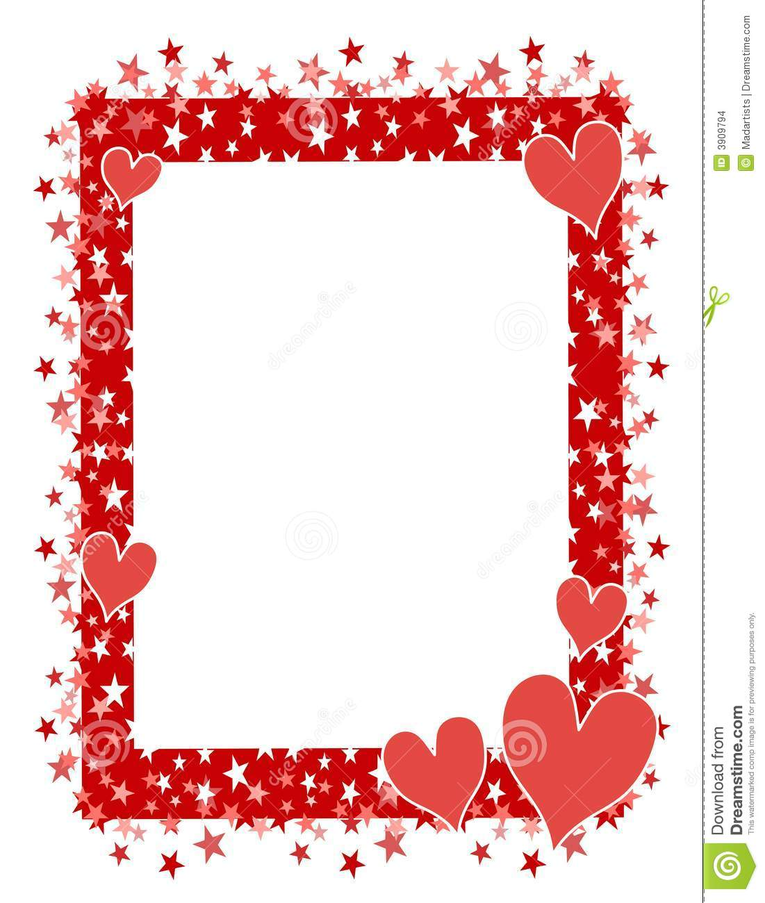 Red Hearts Stars Frame or Border 2